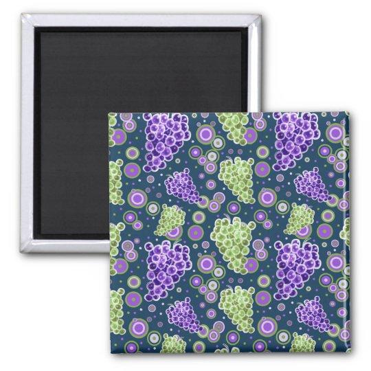 Green Purple Grapes Pattern Magnet