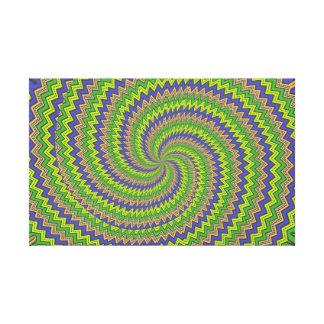 Green purple hypnotic spiral canvas prints