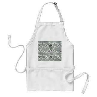 Green & Purple Lace Hearts Design Adult Apron