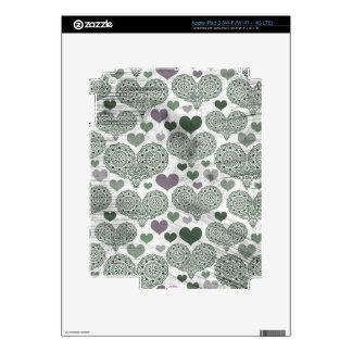 Green & Purple Lace Hearts Design iPad 3 Skin