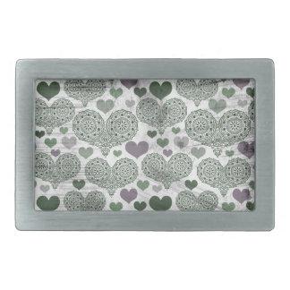 Green & Purple Lace Hearts Design Rectangular Belt Buckle