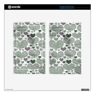 Green & Purple Lace Hearts Design Skins For Kindle Fire
