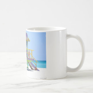 green purple lifeguard stand coffee mug