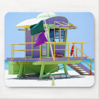 green purple lifeguard stand mouse pad