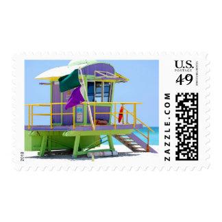 green purple lifeguard stand postage