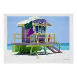 green purple lifeguard stand poster