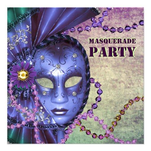 Green Purple Masquerade Party Custom Invitations