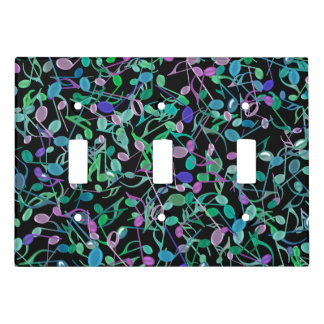 Green Purple Music Notes Triple Light Switch Cover