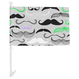 Green & Purple Mustache Design Car Flag