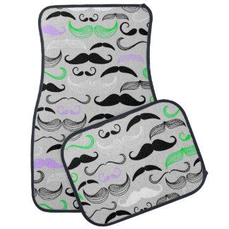 Green & Purple Mustache Design Car Mat