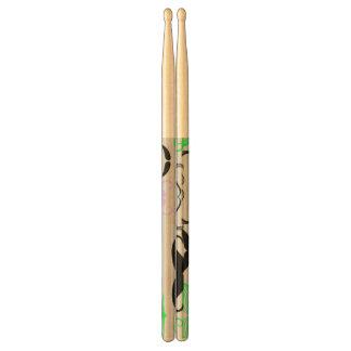 Green & Purple Mustache Design Drum Sticks
