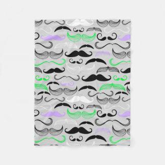 Green & Purple Mustache Design Fleece Blanket