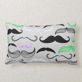 Green & Purple Mustache Design Throw Pillow