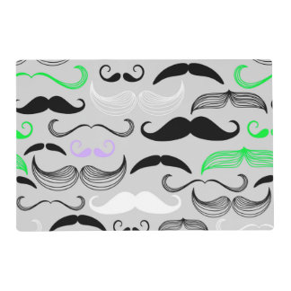 Green & Purple Mustache Design Placemat