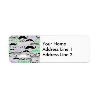 Green & Purple Mustache Design Return Address Label