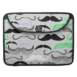 Green & Purple Mustache Design Sleeve For MacBook Pro