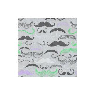 Green & Purple Mustache Design Stone Magnet