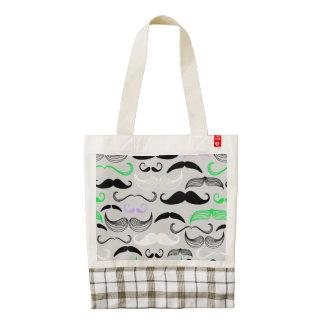 Green & Purple Mustache Design Zazzle HEART Tote Bag