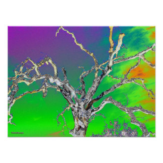 green purple orange tree print