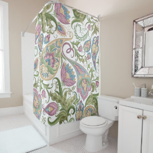 Green Purple Paisley Floral Shower Curtain