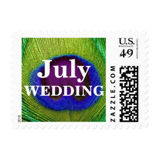 Green Purple Peacock Feather July Wedding Stamps