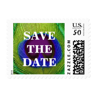 Green Purple Peacock Feather Save The Date Stamps