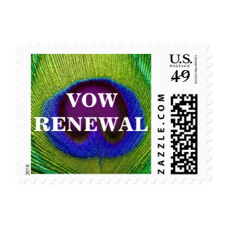 Green Purple Peacock Feather Vow Renewal Stamps