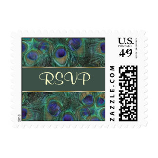 Green purple peacock feathers RSVP Postage