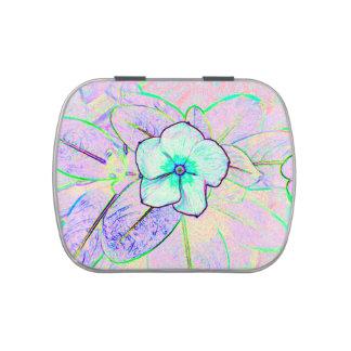 green purple pinwheel sketch flower candy tin