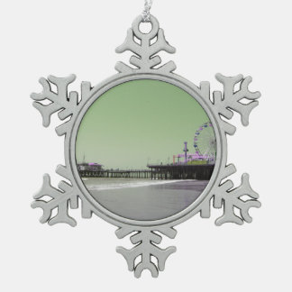 Green Purple Santa Monica Pier Snowflake Pewter Christmas Ornament