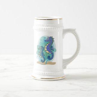 Green & Purple Seahorses in the Ocean Beer Stein