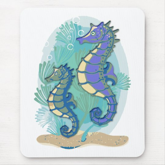 Green & Purple Seahorses in the Ocean Mouse Pad