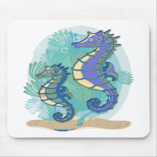 Green Purple Seahorses in the Ocean Mouse Pad