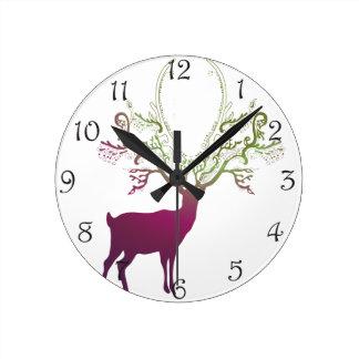 Green Purple Silhouette Deer Round Clock