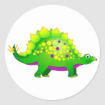 Green & Purple Spiky Dinosaur Round Stickers
