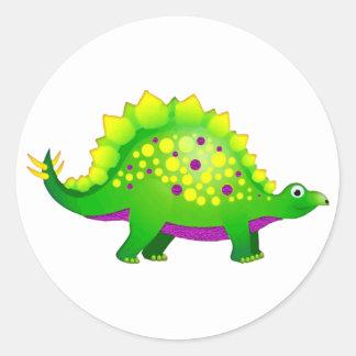 Green Purple Spiky Dinosaur Round Stickers