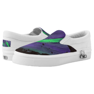 Green & Purple Splatter Zipz Slip on Shoes