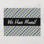 [ Thumbnail: Green & Purple Stripes; Squares, Diamonds, Circles Postcard ]