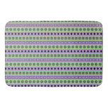[ Thumbnail: Green & Purple Stripes; Squares, Diamonds, Circles Bath Mat ]