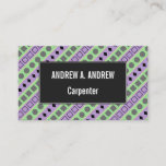 [ Thumbnail: Green & Purple Stripes; Squares, Diamonds, Circles Card ]