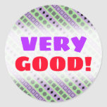 [ Thumbnail: Green & Purple Stripes; Squares, Diamonds, Circles Round Sticker ]