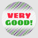 [ Thumbnail: Green & Purple Stripes; Squares, Diamonds, Circles Round Sticker ]