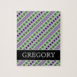 [ Thumbnail: Green & Purple Stripes; Squares, Diamonds, Circles Jigsaw Puzzle ]