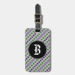 [ Thumbnail: Green & Purple Stripes; Squares, Diamonds, Circles Luggage Tag ]