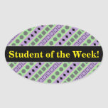 [ Thumbnail: Green & Purple Stripes; Squares, Diamonds, Circles Sticker ]