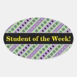 [ Thumbnail: Green & Purple Stripes; Squares, Diamonds, Circles Sticker ]