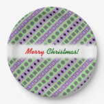 [ Thumbnail: Green & Purple Stripes; Squares, Diamonds, Circles Paper Plate ]