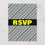 [ Thumbnail: Green & Purple Stripes; Squares, Diamonds, Circles Postcard ]