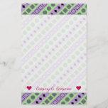 [ Thumbnail: Green & Purple Stripes; Squares, Diamonds, Circles Stationery ]