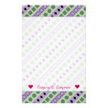 [ Thumbnail: Green & Purple Stripes; Squares, Diamonds, Circles Stationery ]